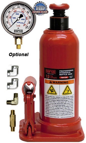 Norco Bottle Jack 12 Ton Capacity with Optional Gauge 76412AG