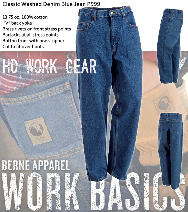 Berne Apparel 5-Pocket Heavy Weight Denim Blue Jean P999